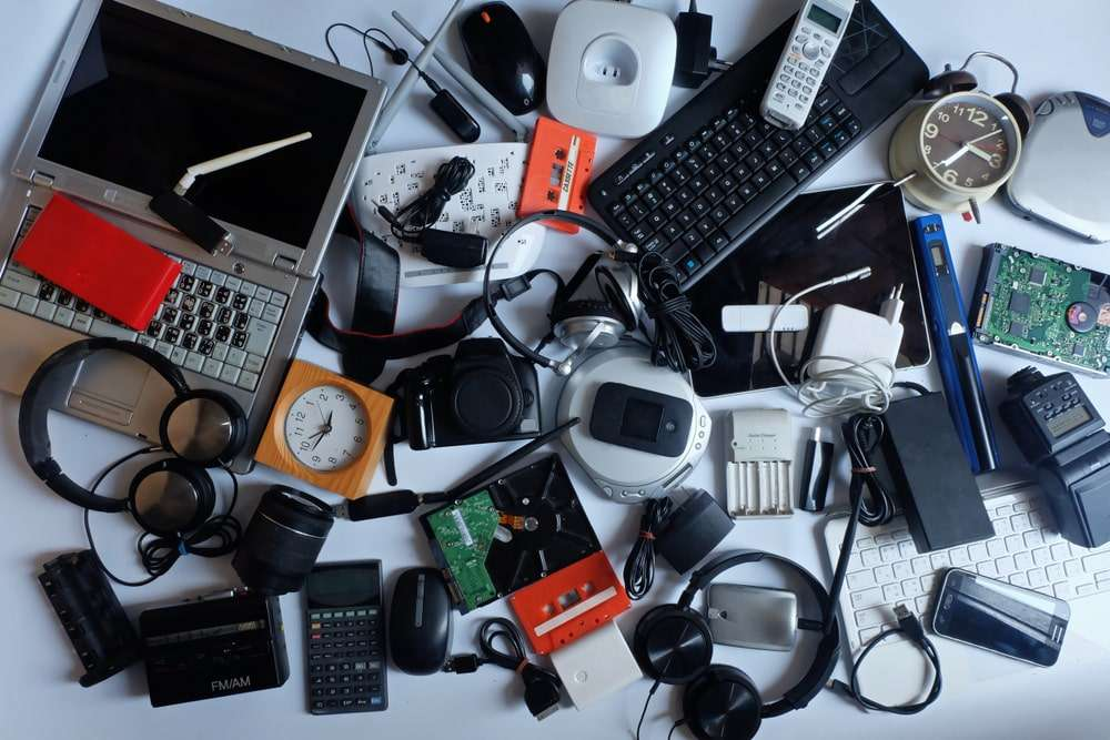 Pile of old electronics and gadgets