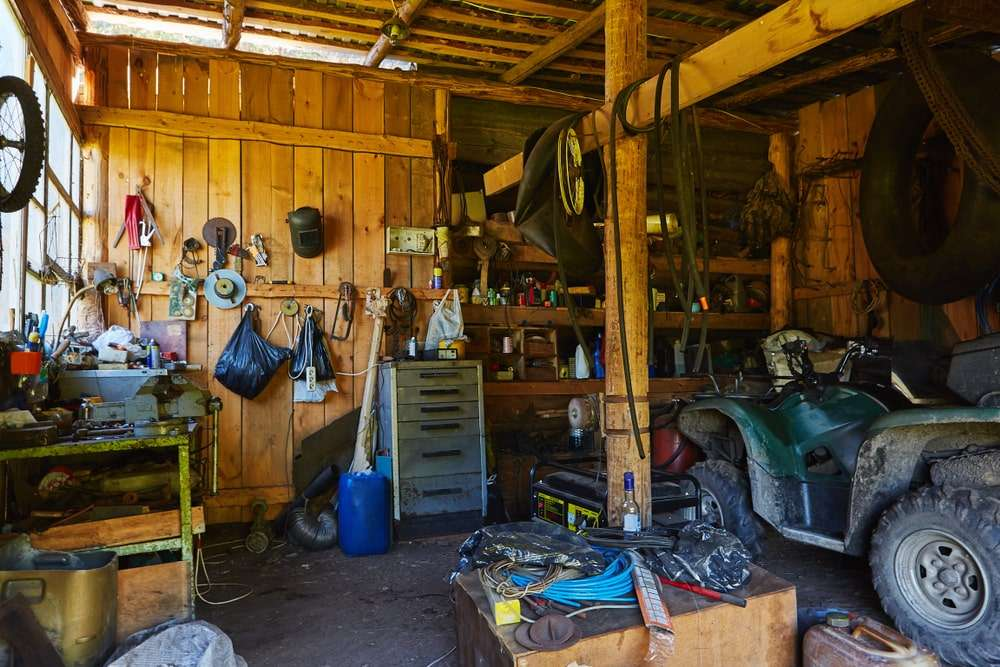 Old garage filled with junk